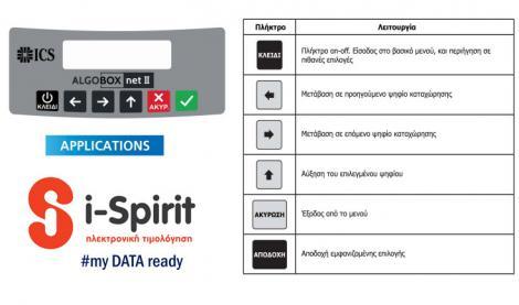ΦΦορολογικός μηχανισμός ics algobox net 2 τύπου β  λειτουργίες  με το πρόγραμμα ην ηλεκτρονικής τιμολόγησης i-spirit